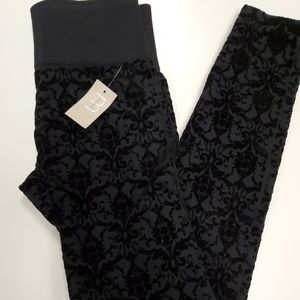 MAURICES Black Floral Velvet Leggings